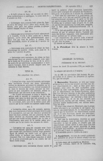 Tome 31 : Du 17 au 30 septembre 1791 - page 339