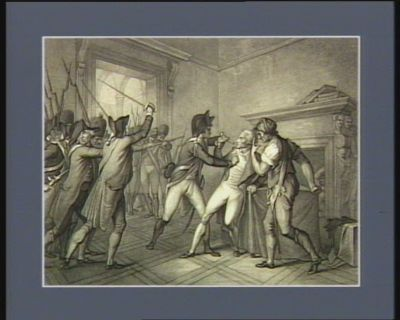 Apprehension of Roberspierre, July 27 1794 Roberspierre after a decree for his apprehension on the 27 of July, sought an asylum in the Hotel <em>de</em> Ville... : [estampe]