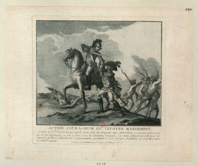 Action courageuse du citoyen Mandement cavalier au 6.eme régiment, qui après avoir pris un drapeau aux Autrichiens... : [estampe]