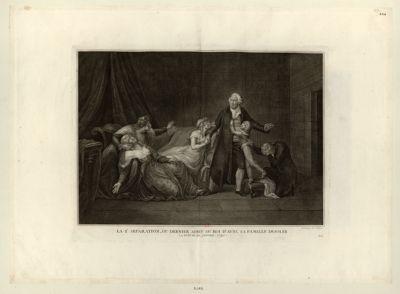La 2 .<em>e</em> séparation, ou dernier adieu du roi d'avec sa famille désolée la nuit du 20 janvier 1793 : [estampe]
