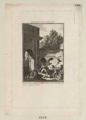 Événement du 3 août <em>1790</em> massacre arrivé à Nancy, et trait heroïque du sieur Dessilles, jeune officier au Regiment du roi : [estampe]