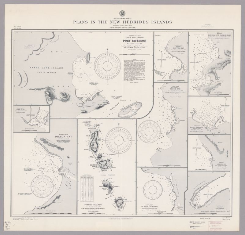 South Pacific Ocean. Plans in the New Hebrides Islands