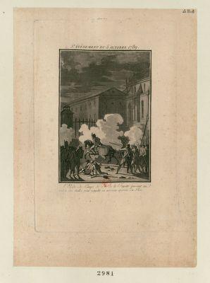<em>5</em>.e événement du <em>5</em> octobre <em>1789</em> l'aide de camps de M. de la Fayette passant au milieu des balles pour remplir sa mission auprès du roi : [estampe]