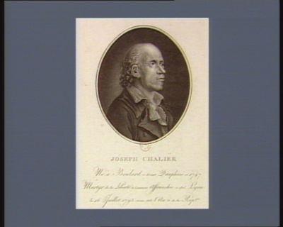 Joseph Chalier né à Boulard ci-devant Dauphiné en 1747 martyr de la liberté à Commune affranchie ci-dev.t Lyon le 16 juillet 1793 vieux stile, l'an 2 de la Rép.que : [estampe]