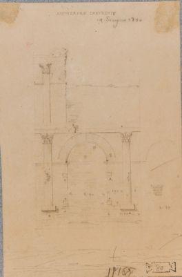 Anfiteatro Castrense, particolari di un'arcata con i resti di un'arcata dell'ordine superiore