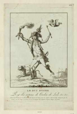 Le  Duc d'York, Roy des sections de Toulon de Lion &c. &c armé du flambeau de la discorde et du serpent de l'envie, avec un sceptre a tête de loup désignant que les tirans sont des loups ravisseurs, il est accompagné du léopard anglais chargé de granis [sic] : [estampe]