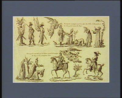 Buonaparte en Egïpte reçoit les clefs des villes d'Alexandrie et du Caire, par les mains des beys, et des principeaux Turcs Buonaparte couronné par la Victoire, reçoit les hommages des beys et des principeaux Turcs : [estampe]