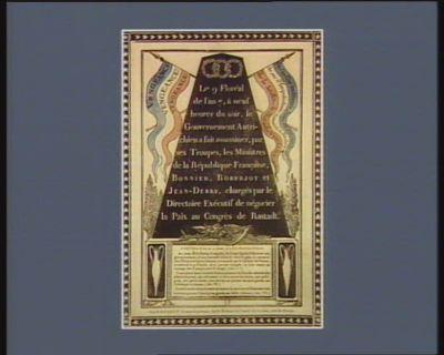 Le 9  floréal de l'an 7, <em>à</em> neuf heures du soir, le gouvernement autrichien <em>a</em> fait assassiner, par ses troupes, les ministres de la République française, Bonnier, Roberjot et Jean Debry, chargés par le Directoire exécutif de négocier la paix au Congrès de Rastadt précis de la loi du 22 floréal, an 7 de la Republique française... : [estampe]