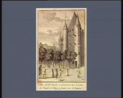 La  Famille <em>royale</em> se promenant dans le jardin <em>du</em> <em>Temple</em>, et Clery y jouant avec le Dauphin [estampe]
