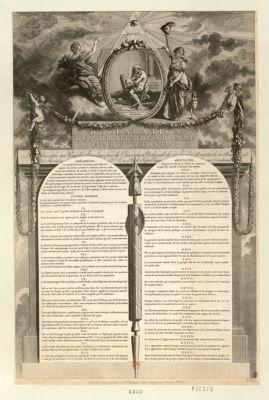 Declaration des droits de l'homme et du citoyen présentée au peuple français par la Convention nationale, le 24 juin et acceptée le 10 août 1793 23 fervidor [sic] l'an 1.er de la République une & indivisible : [estampe]