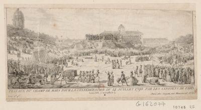Travaux du Champ de Mars pour la Confédération du 14 juillet 1790 par les citoyens de Paris Louis XVI y travailla le 9 : [estampe]