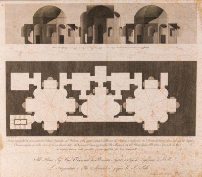 Palatino, spaccato e pianta della Domus Augustana