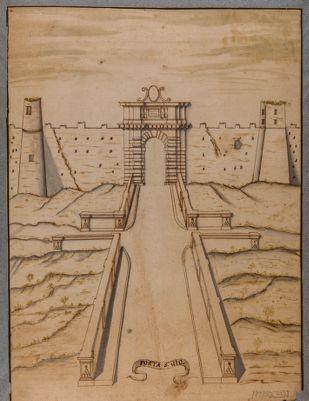 Porta S. Giovanni. Prospetto della porta con progetto di sistemazione interna