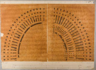 Colosseo, pianta di due settori del piano terreno