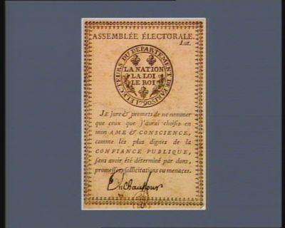 Assemblée électorale électeurs du département de Paris 1790, la <em>nation</em>, la loi, le roi... : [estampe]