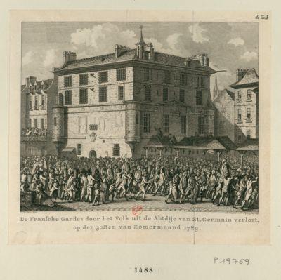 De Fransche Gardes door net Volk uit de Abtdije van St. Germain verlost [estampe]