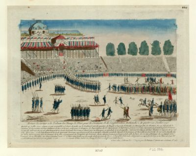 Arrivée du cortege a <em>la</em> tribune du <em>Champ</em> <em>de</em> <em>Mars</em> pour <em>la</em> <em>cérémonie</em> <em>de</em> <em>la</em> Confédération nationale, le quatorze Juillet 1790 mercredi 14 juillet 50000 citoyens se sont rassemblés a 6 heures du matin sur le boulevard entre les quartiers du temple et <em>la</em> porte St Martin, <em>la</em> municipalité, les electeurs, les 120 députés <em>de</em> <em>la</em> commune, les representans des corps militaires <em>de</em> terre et <em>de</em> mer, nationaux et etrangers, les representans des 83 départemens... : [estampe]