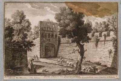 Porta Chiusa vista dall'esterno con parte del muro di Castro Pretorio