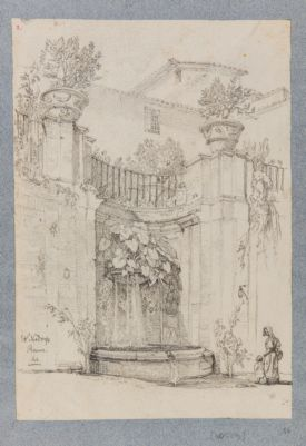 Fontana nel cortile di palazzo privato in Roma