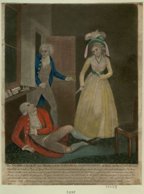The  Death of Marat, late member of the National Convention, at Paris, on the 13th of July 1793 Charlotte la Corde, 25 years... : [estampe]