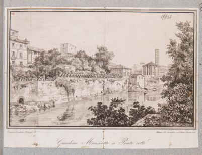 Ponte Rotto o Emilio, veduta del tempio di Vesta e del Giardino Marescotti a ponte Rotto