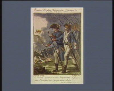 Français Mallet, chasseur de la 1.ere compagnie du 1.er bataillon de la division n.o 1 général, mets moi ma bayonnette, il faut que l'ennemi me paye mon doigt. Le 18 novembre <em>1793</em> v.s. : [estampe]