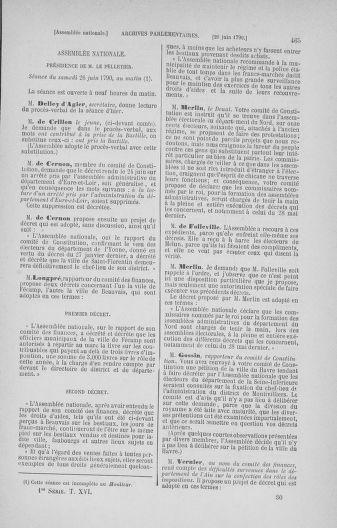Tome 16 : Du 31 mai au 8 juillet 1790 - page 465
