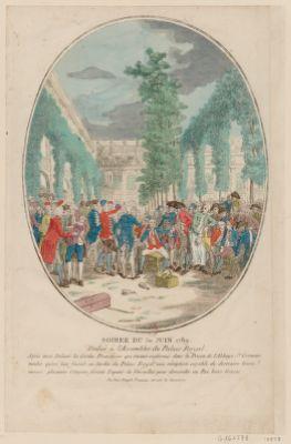 Soirée du 30 Juin 1789. Dédiée à l'Assemblée du Palais Royal Après avoir délivré les Gardes Françaises... : [estampe]