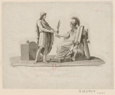 [La  République cisalpine reçoit des mains d'un jeune homme un rameau et une flèche] [estampe]