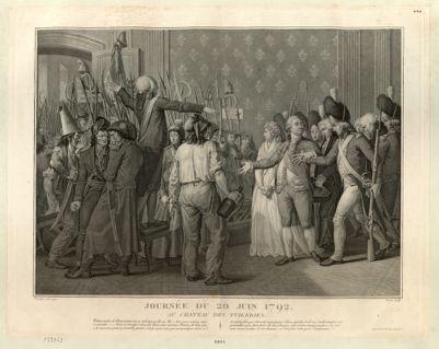 Journée <em>du</em> <em>20</em> <em>juin</em> <em>1792</em>, au château <em>des</em> <em>Tuileries</em> [estampe]