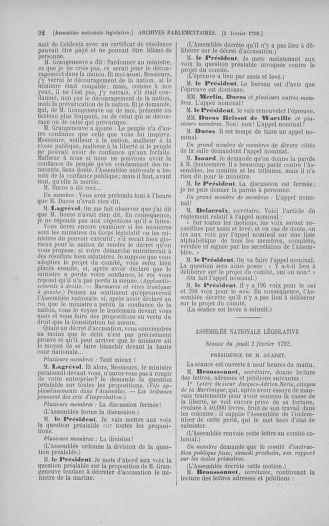 Tome 38 : Du 29 janvier au 21 février 1792 - page 92