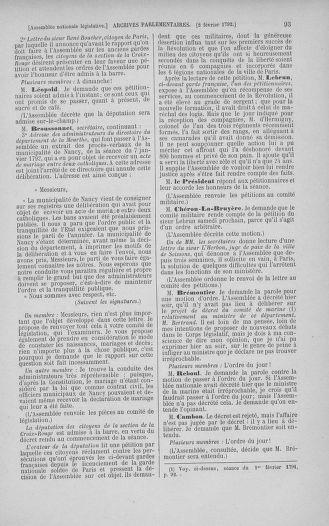 Tome 38 : Du 29 janvier au 21 février 1792 - page 93