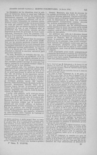 Tome 38 : Du 29 janvier au 21 février 1792 - page 145