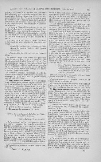 Tome 38 : Du 29 janvier au 21 février 1792 - page 193