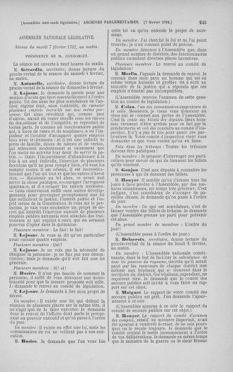 Tome 38 : Du 29 janvier au 21 février 1792 - page 245