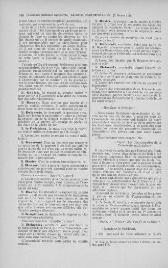 Tome 38 : Du 29 janvier au 21 février 1792 - page 246