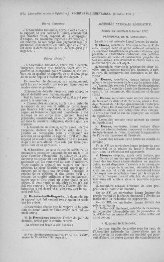 Tome 38 : Du 29 janvier au 21 février 1792 - page 274