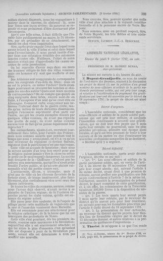 Tome 38 : Du 29 janvier au 21 février 1792 - page 323