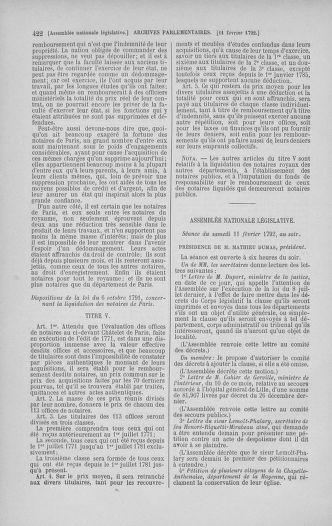 Tome 38 : Du 29 janvier au 21 février 1792 - page 422