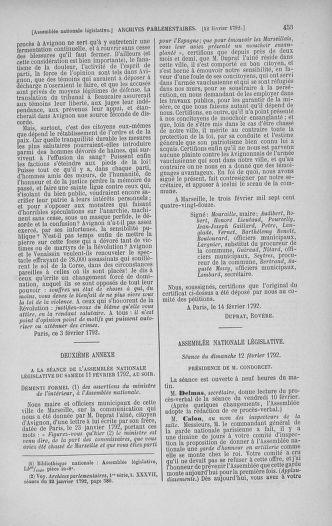 Tome 38 : Du 29 janvier au 21 février 1792 - page 453