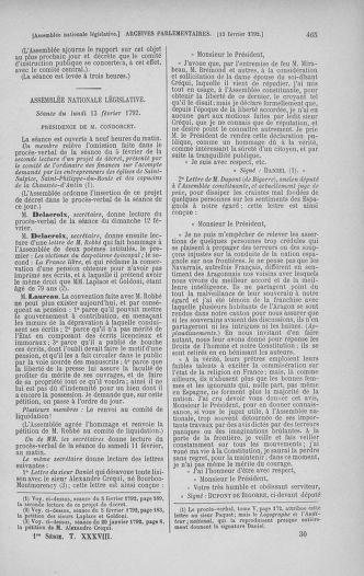 Tome 38 : Du 29 janvier au 21 février 1792 - page 465