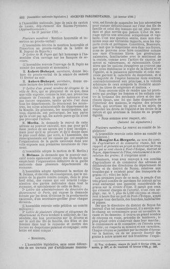 Tome 38 : Du 29 janvier au 21 février 1792 - page 466