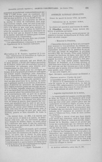 Tome 38 : Du 29 janvier au 21 février 1792 - page 485