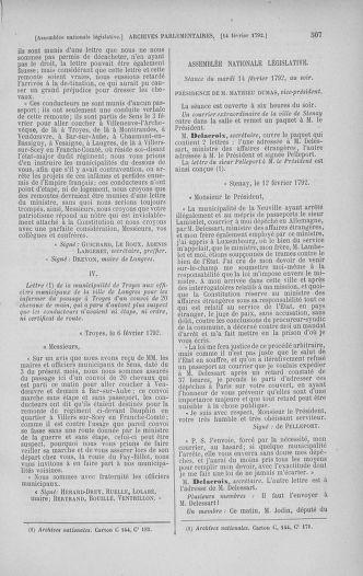 Tome 38 : Du 29 janvier au 21 février 1792 - page 507