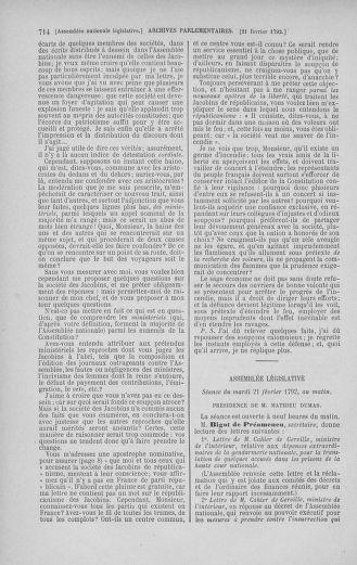 Tome 38 : Du 29 janvier au 21 février 1792 - page 714