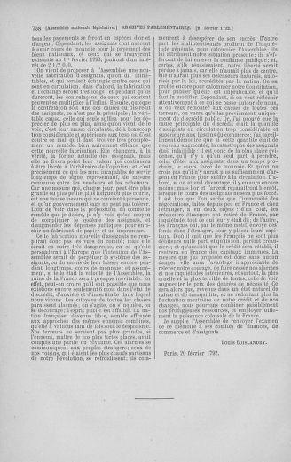 Tome 38 : Du 29 janvier au 21 février 1792 - page 738