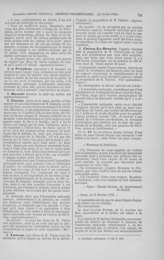 Tome 38 : Du 29 janvier au 21 février 1792 - page 741