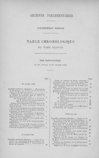 Tome 38 : Du 29 janvier au 21 février 1792 - page ..