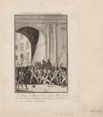 6.e événement du 14 juillet 1789 Le Marquis de Pellepont voulant arracher le Major de la Bastille des mains du Peuple, est lui même près d'expirer sous les coups de haches d'un furieux : [estampe]