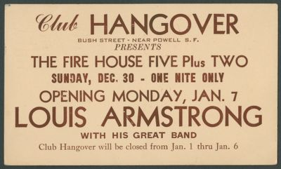 Postcard for Club Hangover Fire House Five Plus Two and Louis Armstrong appearance